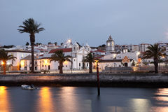Town Lagos at dusk, Portugal Stock Image
