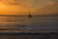 On the beach of Lahaina at Sunset stock image
