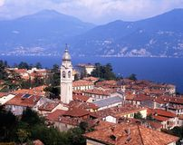 Town and lake Como, Menaggio, Italy. Royalty Free Stock Photography