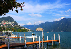 Town on lake Lugano, Switzerland Royalty Free Stock Images