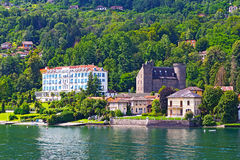 A town on the Lake Maggiore in Northern Italy. Stock Photos