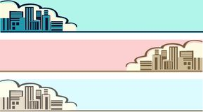 Town landscape. Vector illustration of the panorama of the city Royalty Free Stock Photos
