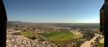 Town landscape between battlements Royalty Free Stock Photo