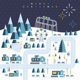 Town landscape of Christmas holiday. In flat design Stock Images