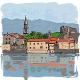 Town landscape with houses on shore. Facades of buildings are reflected. Vector illustration vector illustration