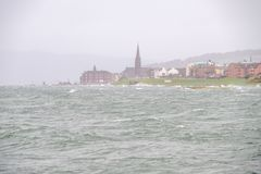 Storm Eric Hits the Seafront of Largs in the West Coast of Scotland High Winds and Waves break onto the Foreshore. Image was taken royalty free stock image