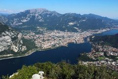 Town of Lecco aerial view between mount Resegone and Como lake Royalty Free Stock Photo