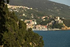 The town of Lerici and its castle overlooking the sea of Liguria royalty free stock photos