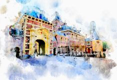 Town life in watercolor style Royalty Free Stock Photo
