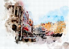 Town life in watercolor style Royalty Free Stock Photography