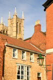 Town of Lincoln with Cathdral in Background Royalty Free Stock Photography