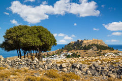 Town of Lindos and Acropolis on the island of Rhodes Stock Photo