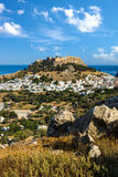 Town of Lindos and Acropolis on the island of Rhodes Royalty Free Stock Image