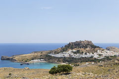 The town of Lindos in the Greek Royalty Free Stock Photos