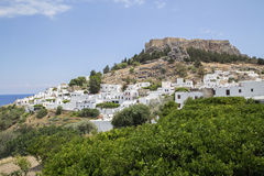 The town of Lindos in the Greek Stock Photo
