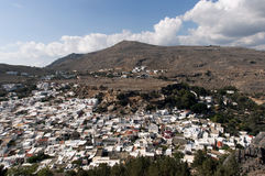 Town of Lindos in Rhodes Stock Image