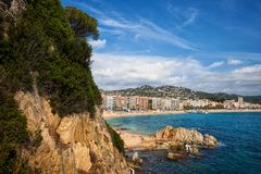 Town of Lloret de Mar on Costa Brava in Spain Royalty Free Stock Photos
