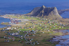 Town on Lofoten. Aerial view of picturesque town Sorland on Lofoten islands in Norway Stock Photography