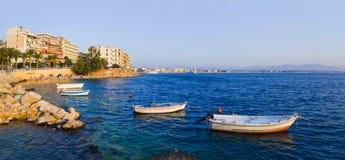 Town Loutraki in Greece. Travel background Stock Photos