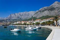 Town Makarska in Croatia. Resort travel background Stock Photography