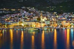 Town Makarska in Croatia at night Royalty Free Stock Photo
