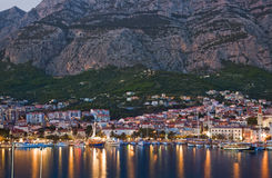 Town Makarska in Croatia at night Stock Image