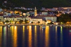 Town Makarska in Croatia at night Royalty Free Stock Photos