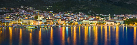 Town Makarska in Croatia at night Stock Photo