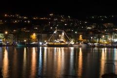 Town Makarska in Croatia at night Royalty Free Stock Image