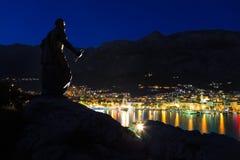 Town Makarska and monument in Croatia Stock Image