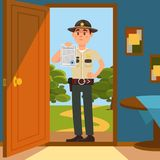 Town male sheriff police officer character in official uniform standing on the doorstep of the house and showing warrant. Sheet of paper vector Illustration Stock Photos