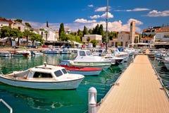 Town of Malinska harbor and waterfront view. Krk island in Croatia Stock Images