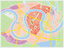 Town map. Map of a fictive city with river royalty free illustration