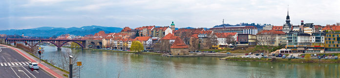 Town of Maribor riverfront panorama Royalty Free Stock Photo