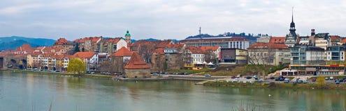 Town of Maribor riverfront panoramic Stock Image