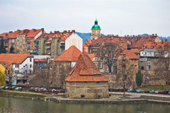 Town of Maribor riverfront view Royalty Free Stock Image