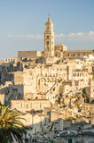 The town of Matera with caracteristic  rocks and Royalty Free Stock Photography
