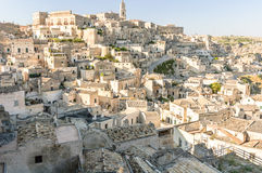 Town of Matera and tipical rocks houses Stock Photography