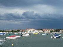 Town of Medulin waterfront view before the storm, Istria region of Croatia stock photo