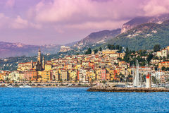 Town of Menton on French Riviera. Sea view of town of Menton on French Riviera Royalty Free Stock Images