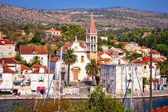 Town of Milna waterfront on Brac island Stock Photos
