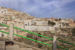 Town of of Monte Sant`Angelo: view of the district Junno, Italy Apulia. Panoramic of Monte Sant`Angelo: it is a town on the southern slopes of Monte Gargano stock photography
