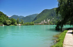 Town Most na Soci. With river Soca, Slovenia Stock Images
