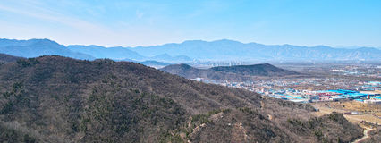 The town and mountains from Beijing Baiwangshan Peak Stock Photo