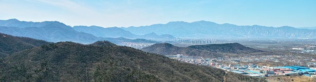The town and mountains from Beijing Baiwangshan Peak Stock Photos