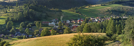 Town in the mountains. Pieniny, Poland Royalty Free Stock Photo