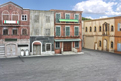 Town movie set. Movie set of an old Italian styled town stock images