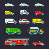 Town municipal special, emergency service cars and trucks icons collection. Vector city transport set in flat style. Stock Images