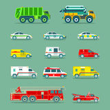 Town municipal special, emergency service cars and trucks icons collection. Vector city transport set in flat style. Royalty Free Stock Image