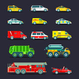 Town municipal special, emergency service cars and trucks icons collection. Vector city transport set in flat style. Stock Image